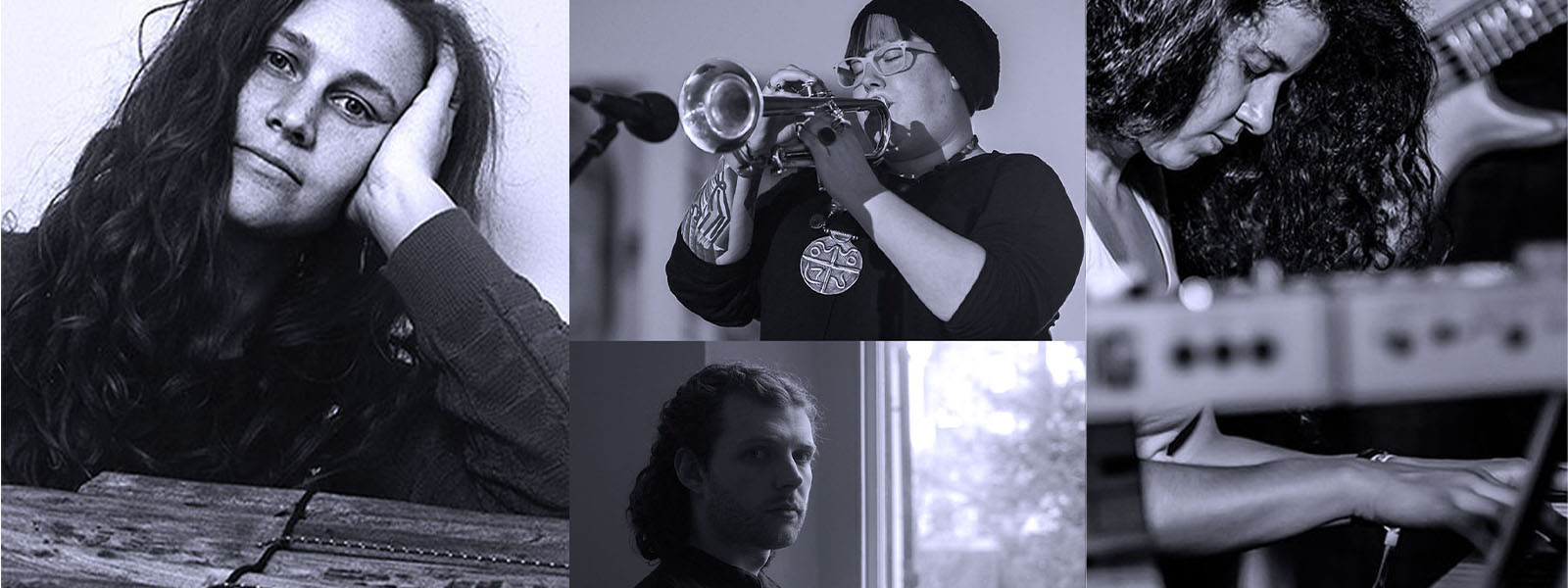 artists montage of Bex Burch playing the trumpet, Kim Macari, Maria Grapsa playing the piano & Ell Kendall